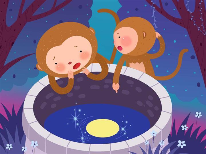 儿童双语小故事:猴子捞月